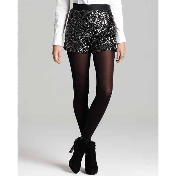 French Connection Pants - French Connection high-waist black sequin shorts 8